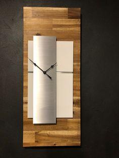 Quality quartz wooden wall clock with aluminium trim Wall Lights, Big Clocks, Modern Clock, Bespoke Lighting, Wall, Light Fittings, Wall Clock, Wall Design, Wooden Walls