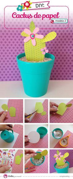 Aprende con el blog de Anita y su mundo #scrapbooking a crear un mini #jardín de #cactus con #papel #scrapbook.  #DIY #cactusplants #plants #cute #handmade #tutorials #craft #manualidades #homedecor #modelo2 #papelesscrapbooking