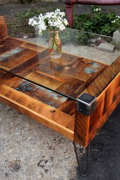 In love with this coffee table! Reclaimed Wood and Tempered Glass Top Coffee by RecycledBrooklyn
