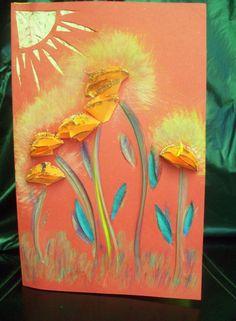 Sunburst - flower card - beautifully created - handcarved - multi media
