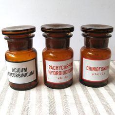 Vintage Pharmacy Bottles, Medicine Bottles, Medical Jar,  Amber Glass, Apothecary Jar, Medical Container, Medicine Jar, Medical Decoration