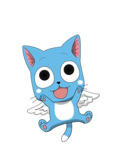 Happy (ハッピー Happī) is an Exceed from Extalia, a member of the Fairy Tail Guild and of Team Natsu, and one of the main protagonists of the story. Natsu Fairy Tail, Fairy Tail Cat, Fairy Tail Amour, Fairy Tail Drawing, Image Fairy Tail, Fairy Tail Happy, Fairy Tale Anime, Fairy Tail Family, Fairy Tail Love