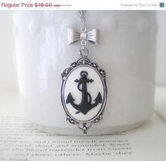 Black White Anchor Necklace with Bow