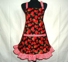 Retro Strawberry Apron Full Hostess Style with by ElsiesFlat, $34.00