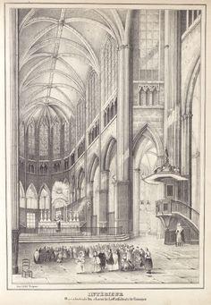 """Intérieur de la cathédrale de Limoges, extrait de l'""""Historique monumental de l'ancienne province du Limousin"""",  de Jean-Baptiste Tripon, 1837. Bfm Limoges"""