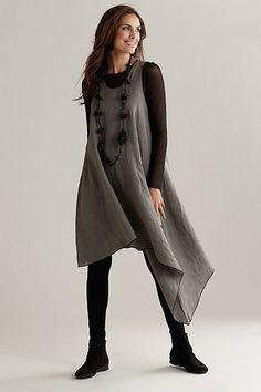 """Asymmetric Long Linen Tunic"""