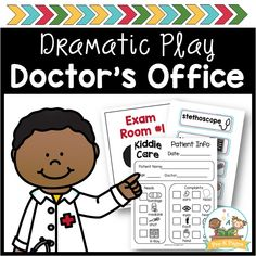 Doctor's office dramatic play center theme for your preschool, pre-k, or kindergarten classroom. Perfect for a community helper theme! Dramatic Play Themes, Dramatic Play Centers, Preschool Literacy, Preschool Printables, Preschool Teachers, Kindergarten Worksheets, Preschool Ideas, Toddler Activities, Pre K Pages