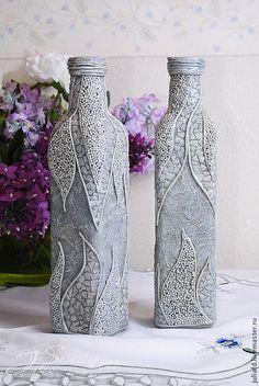 """Купить Декоративная бутылка """"Серебро"""" - серебряный, пейп-арт, Декоративная бутылка, ваза для цветов"""