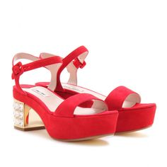 SUEDE PLATFORM SANDALS WITH EMBELLISHED HEEL  seen @ www.mytheresa.com. For an additional % off your order sign up at   http://www.ebates.com/rf.do?  referrerid=IR0blIl3xxj30K45w%2BDBVg%3D%3D