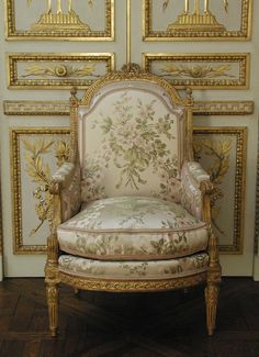 "invitinghome: ""Stunning antique French style carved and gilded walnut armchair upholstered in modern silk lampas Jean-Baptiste-Bernard Demay (1759–1849, master 1784) """