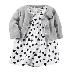 Baby Girl Carter s Heart Bodysuit Dress   Cardigan Set 168ad9028