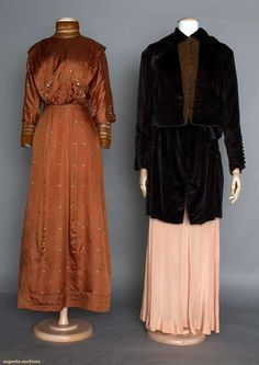 TWO LADIES' DAY GARMENTS, 1910-1915 1 c. 1910 chestnut silk day dress w/ small stylized floral print in pink & blue, self fabric button trim, brown net undersleeves & high neck; 1 c. 1915 plum velvet day coat, hip length, long sleeve, brown wool button front undervest, printed silk lining.