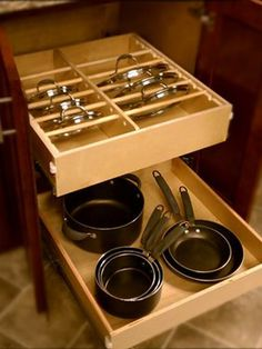 EZ to find those missing lids with this organizer.  Kitchen Cabinets, Shelves, and Organizers | EZ REACH CABINET SYSTEMS