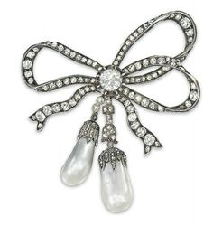 A 19TH CENTURY PEARL AND DIAMOND BROOCH Designed as a bow, the triple loop surmount set throughout with old-cut diamonds, to the large collet-set diamond 'knot' centre suspending the similarly-set ribbons and tassels, each with a single drop shaped pearl terminal, mounted in silver and gold