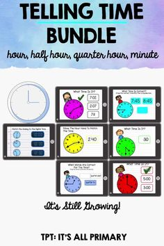 Teach telling time using both the hour hands and minute hands. Whether you are teaching online, blended, homeschool or needing activities for the classroom or math centres, these set of telling time will work great for your students! These are all Google Slides™.