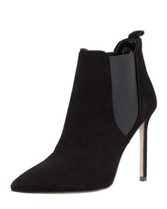 Tungade Pointy Suede Ankle Boot, Black by MANOLO BLAHNIK at Bergdorf Goodman.