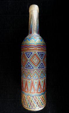Botella pintada a mano. Diseño ornamental. por ColorPointArt