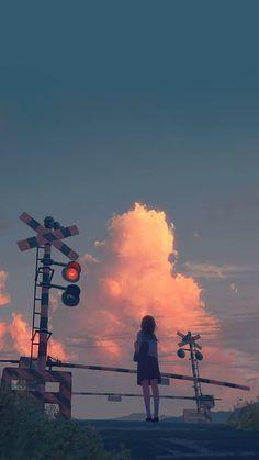 Railway Crossing - 9GAG Wallpaper Aesthetic, Aesthetic Backgrounds, Aesthetic Art, Aesthetic Pictures, Aesthetic Anime, Animes Wallpapers, Cute Wallpapers, Wallpaper Harry Potter, Anime Scenery Wallpaper