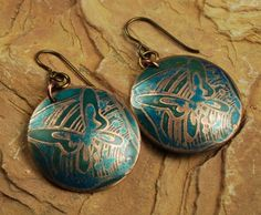 Etched Metal Earrings Copper Earrings Copper by ccjewelrydesign, $22.00