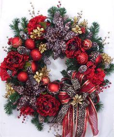 Christmas Wreath, Animal Print Wreath, Holiday Wreath, Thanksgiving Wreath on Etsy, $139.95