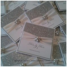 Handmade Luxury Glitter Wedding Invitation by CrystalCoutureInvite