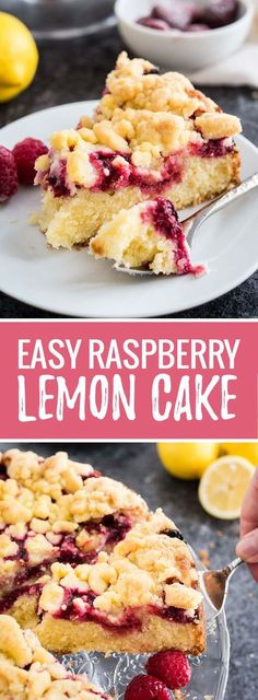 This easy Lemon Raspberry Cake is topped with delicious streusel and filled with juicy raspberries! Your guests will be begging you for the recipe.