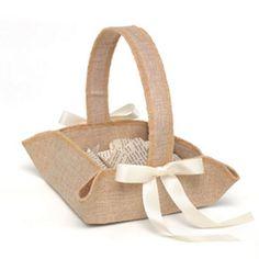 Rustic Country Burlap Square Basket With Ivory Bows #baskets #rusticwedding #rusticdecor #weddinginspiration #bridalinspiration