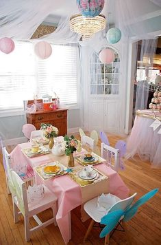 Lovely pastel party table at a garden birthday tea party! See more party plannin… – Fest Time Toddler Tea Party, Girls Tea Party, Birthday Party For Teens, Tea Party Birthday, 4th Birthday, Birthday Ideas, Kids Party Tables, Tea Party Table, Disney Princess Birthday