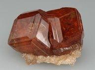 ❦ CRYSTAL❦ 2 intergrown gemmy Hessonite crystals from Jeffrey mine, Asbestos, Richmond Co., Quebec, Canada