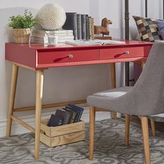 HomeVance Sorensen Mid-Century Desk  $407.99 affiliate   writing desk, tiny space, tiny house, tiny living