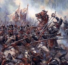 French Dragoons Attack a Russian Infantry Formation at the Battle of Leipzig (October 1813), by A.F. Telenik.