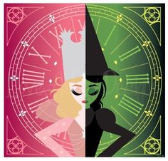 Glinda and Elphaba. Wanna see Wicked again! (By: loveashleydesigns on tumblr)