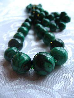 Vintage Malachite Gradated Green Necklace 21 by BackyardAntiques, $27.00