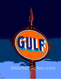 vintage gulf motor oil gas sign