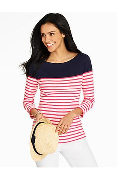 Bateau-Neck Tee - Bright Stripes - Talbots