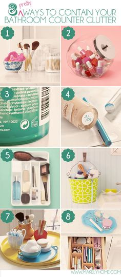 Eight Pretty Ways to Contain Your Bathroom Counter Clutter #organization #home