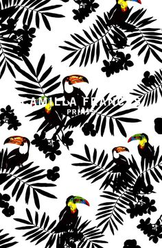 Camilla Frances is a individual print creator, leading a team that combines unique, personal design sensibilities with traditional hand drawing techniques to craft an ever-growing world of prints. Illustration Arte, Pattern Illustration, Illustrations, Motifs Textiles, Textile Patterns, Print Patterns, Conversational Prints, Estilo Tropical, Tropical Pattern