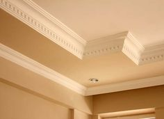 Crown molding is a surprisingly easy way to completely transform your home. We'll walk you through the basics of installing crown molding yourself. Dentil Moulding, Moldings And Trim, Crown Moldings, Exterior Trim, Interior And Exterior, Interior Design, Wall Trim, Dark Interiors, Baseboards