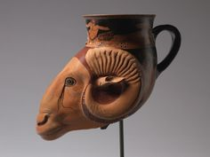 Ram Head Rhyton, earthenware with slip decoration, Bygos Painter (Greek), circa 480-470 BC - The Cleveland Museum of Art - The Cleveland Museum of Art