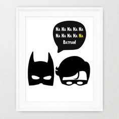 Na Na Na Na Batman and Robin monochrome nursery by Gemmaprints