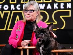 The Princess and the Puppy. The Princess and the Puppy Actress Carrie Fisher (aka Princess Leia) brought along a furry friend — her French bulldog, Gary — as she promoted her much-hyped upcoming movie Star Wars: The Force Awakens on Good Morning America. Carrie Fisher, Gary Fisher, Frances Fisher, Movie Stars Names, Ghostbusters Reboot, Emission Tv, Celebrity Dogs, Celebrity Names, Love Dogs