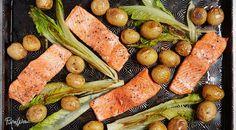 One-Pan Roasted Salmon with Potatoes and Romaine via @PureWow