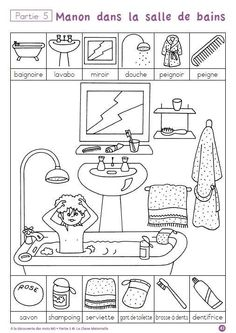 """A la decouverte des mot"" -- ten free printable pages to help children practice hygiene and routine vocabulary in French (""la salle de bains"") via cut-and-paste and other worksheets. Four other sets of worksheets on other themes also available. Educational Activities, Preschool Activities, Kids Education, Special Education, French Worksheets, French Classroom, Hidden Pictures, French Lessons, Teaching French"