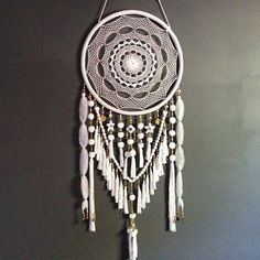 Extra Large White and Gold Beads & Jewels Dreamcatcher