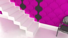 Aranżacja ściany przy schodach, klatka schodowa, przedpokój, hall, hol, korytarz z wykorzystaniem paneli ściennych 3D Fluffo.