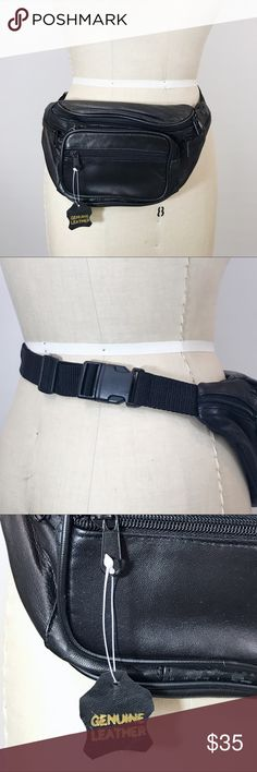 NWT Rad Vintage Black Genuine Leather Fanny Pack You can NEVER have too many fanny packs (in my opinion)!!!This one is GENUINE leather, never been used and has so many great zipper compartments & adjustable waist strap. Approx 13x6 Vintage Bags Backpacks