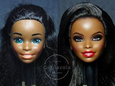 Custom Barbie, Custom Dolls, Doll Repaint Tutorial, Original Barbie Doll, Makeup Makeover, Realistic Dolls, Doll Painting, Style Hairstyle, Barbie Furniture