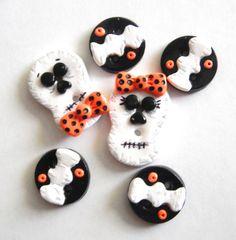Button Halloween Skeletons handmade polymer clay