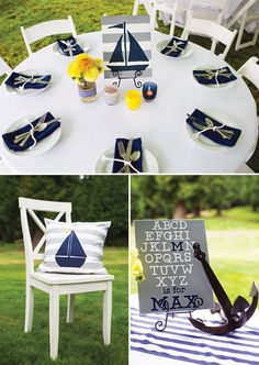 """Ahoy it's a Boy"" Preppy Nautical Baby Shower // Hostess with the Mostess®"