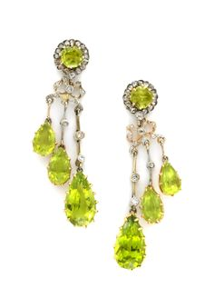 A Pair of Edwardian Diamond and Peridot Ear Pendants. Available at FD Gallery.  www.fd-inspired.com